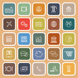 Economy line flat icons on brown background. Stock vector Royalty Free Stock Photo