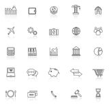 Economy line icons with reflect on white background Stock Photography