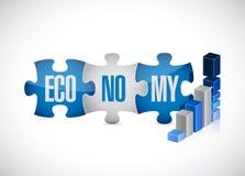 Economy puzzle pieces graph illustration Stock Images