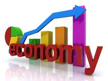 Economy on the rebound. A chart showing the economy on the rebound Stock Image