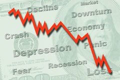 Economy recession concept. Downtrend graph on a US hundred dollar note, indicating economy recession Royalty Free Stock Photo