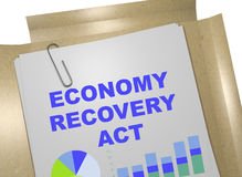 Economy Recovery Act - business concept. 3D illustration of ECONOMY RECOVERY ACT title on business document Stock Image
