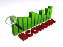Economy. In red block text with green bar chart and magnifying glass on white background Stock Images