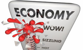 Economy Rising Financial Markets Thermometer. 3d Illustration Royalty Free Stock Photos