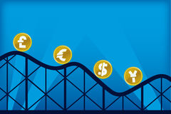 Economy roller coaster (vector) Royalty Free Stock Images