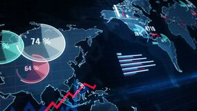 Economy, statistic, global business and finance 3d chart loop animation