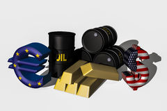 Economy symbols. On a white background,3d economy symbols stock illustration