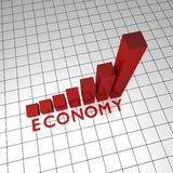 Economy text diagram 3d Royalty Free Stock Image