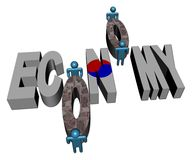 Economy text with Korean flag Stock Photography