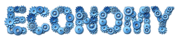 Economy text made of different types of gears and. Cogs representing the symbol of industry and manufacturing Royalty Free Stock Photography
