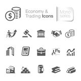 Economy & trading icons. Economy & trading icons in black & white Stock Images