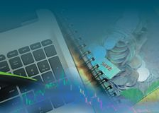 Economy trends background for business idea Stock Photography