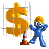 Economy under construction 3d humanoid icon Royalty Free Stock Photography