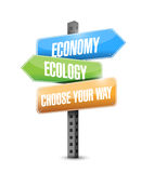 Economy versus ecology. choose your way road sign Royalty Free Stock Image