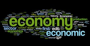 Economy Word Cloud. Collection of economy related words for design projects royalty free illustration