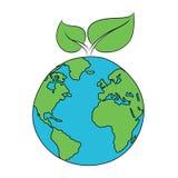 Ecopictogram van een blad op een planeet royalty-vrije illustratie