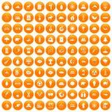 100 ecopictogrammen geplaatst oranje Royalty-vrije Stock Fotografie