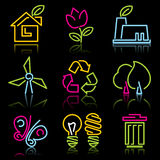 Ecopictogrammen van de lijn Stock Afbeeldingen