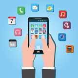 Ecosistema del desarrollo de aplicación móvil de la economía de Apps Imagenes de archivo