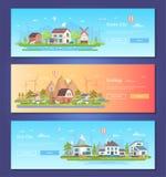 Ecostad - reeks moderne vlakke vectorillustraties van de ontwerpstijl royalty-vrije illustratie