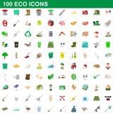 100 ecosymboler uppsättning, tecknad filmstil stock illustrationer