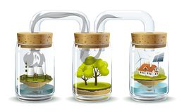 Ecosystem. Environmental illustration delicate balance and depending on the nature of human Stock Photography