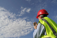 Ecosystem checkup. Environmental engineer with an unusual plant specimen in a glass beaker, wearing red hard hat and yellow reflective vest, with a beautiful royalty free stock images