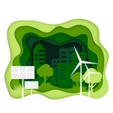 Ecosystem concept. Eco city with clean energy. Creen paper cut ecology banner.  World Environmant day. Solar battery and wind power plants symbol of green Stock Photos