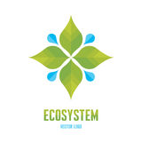 Ecosystem Concept Illustration - Abstract Vector Logo Sign Template. Leaves and drops illustration Stock Photos