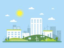 Ecosystem concept picture of urban landscape. Alternative energy solar and wind. Vector illustration Royalty Free Stock Image