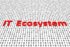 IT Ecosystem. In the form of binary code, 3D illustration Royalty Free Stock Photography