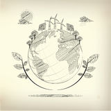 Ecosystem. Graphic of ecosystem in a drawing style Stock Image