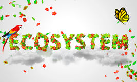 Ecosystem leaves particles 3D. Digital art Royalty Free Stock Images