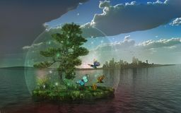 The  ecosystem. Surrealistic scene with ecosystem inside the bubble Stock Image