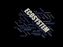 Ecosystem - word cloud wordcloud - terms from the globalization, economy and policy environment. Wordcloud with series of terms from the globalization, economy Stock Photography