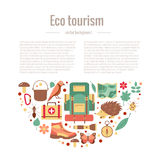Ecotourism camping poster. Template with flat cartoon design elements. Tent backpack binocular guitar camping lantern map compass squirrel hedgehog, bird Royalty Free Stock Photo