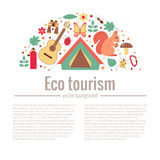 Ecotourism camping poster. Template with flat cartoon design elements. Tent backpack binocular guitar camping lantern map compass squirrel hedgehog, bird Royalty Free Stock Photos