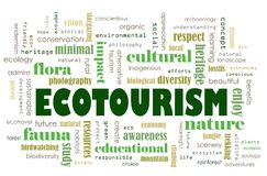 Ecotourism concept. A computer illustration of the concept of eco tourism, a form of tourism gaining much popularity in the recent years.  Focus of sightseeing Royalty Free Stock Photography