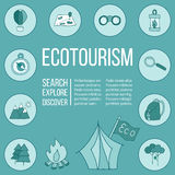 Ecotourism flyer, poster. Vector illustration Stock Photography
