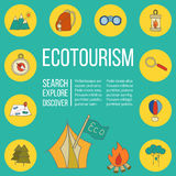 Ecotourism flyer, poster. Vector illustration Royalty Free Stock Photography