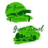 Ecotourism and go green symbol for travel design. Ecotourism and green travel symbol. Go green sign of tropical trees and eco park nature landscape for Stock Photos