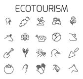 Ecotourism related vector icon set. vector illustration
