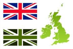 Ecovlag van Union Jack en de kaart van Engeland Royalty-vrije Stock Foto