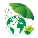 Ecowereld en paraplu royalty-vrije illustratie