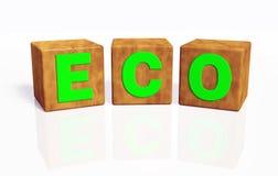 Ecowoord door drie kubussen wordt samengesteld die Stock Foto's
