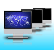 Ecrã de computador no fundo branco Foto de Stock Royalty Free