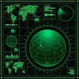 Ecrã de radar com mapa de mundo Imagens de Stock Royalty Free