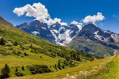 Ecrins National Parc Glaciers in Summer. La Meije, Alps, France. Ecrins National Parc mountain peaks and glaciers in summer. Glacier du Lautaret and Glacier de l Stock Photography