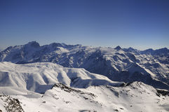 Ecrins range. The Ecrins range seen from the Pic Blanc in winter. Meige and Rateau peak are seen in the forefront stock photos