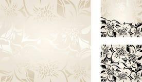 Ecru floral decorative holiday background set Stock Images